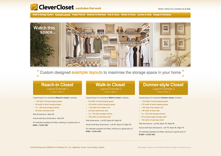 CleverCloset web page design 3