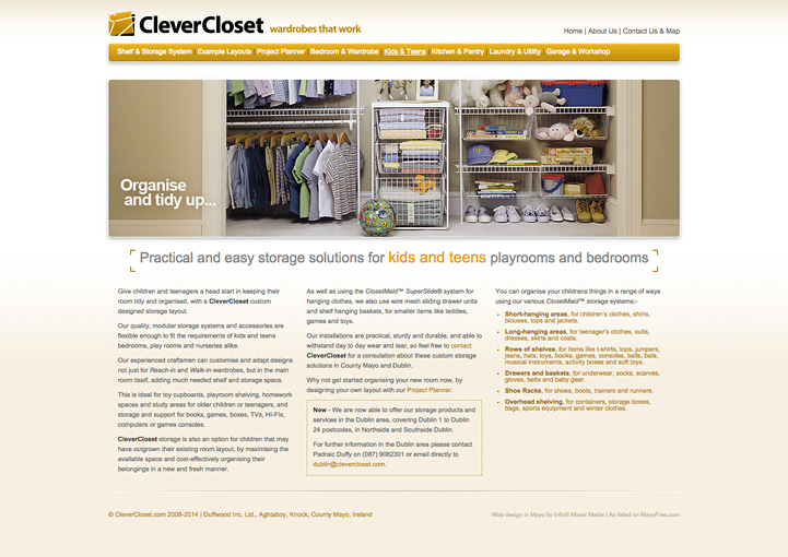 CleverCloset web page design 6