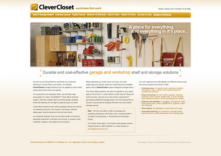 CleverCloset web page design 9