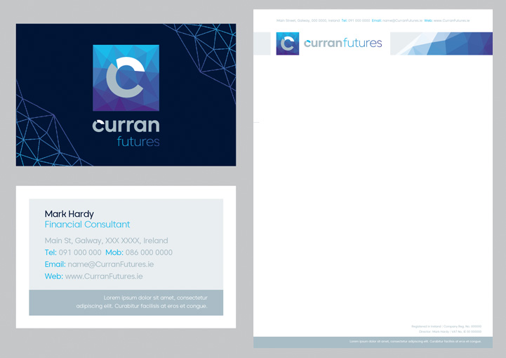 Curran Futures business card and stationery design