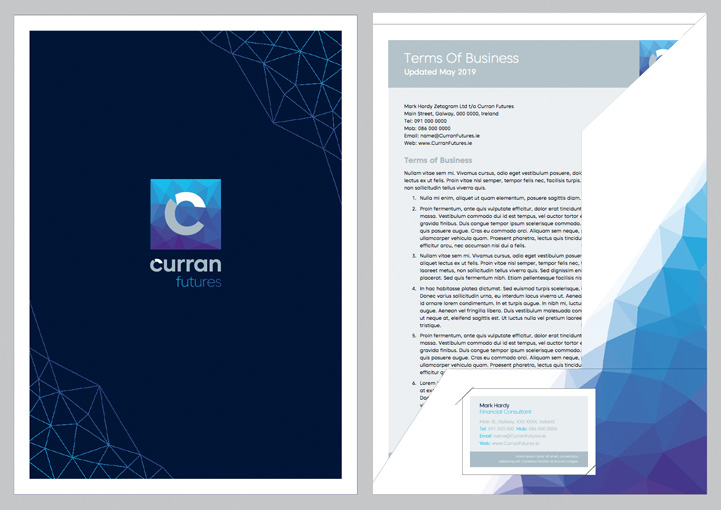 Curran Futures brochure folder and inserts design