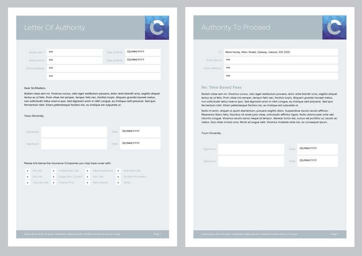 Curran Futures stationery forms design