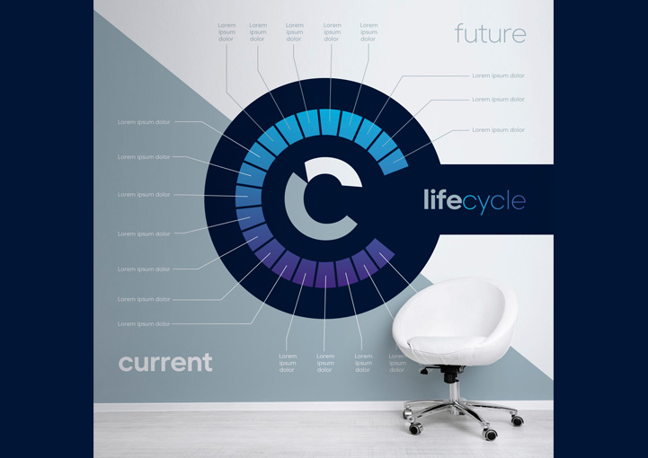 Curran Futures concept wall graphics design