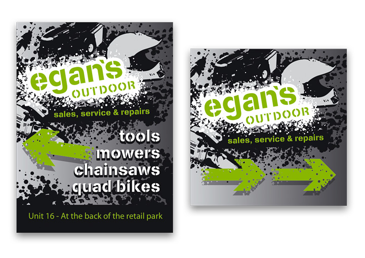 Egan's Outdoor pavement sign and directional sign