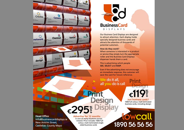 Business Card Displays web page design