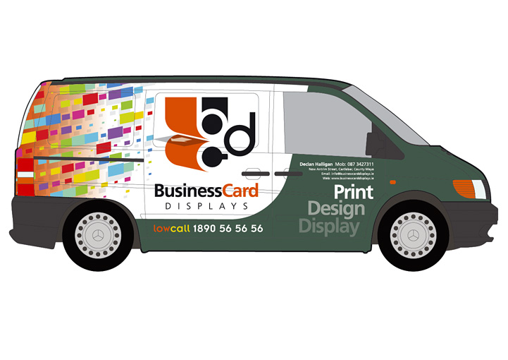 Business Card Displays vehicle graphics design left
