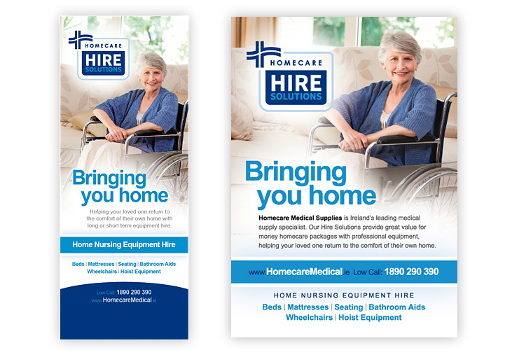 Hire Solutions banner stand and advertising design