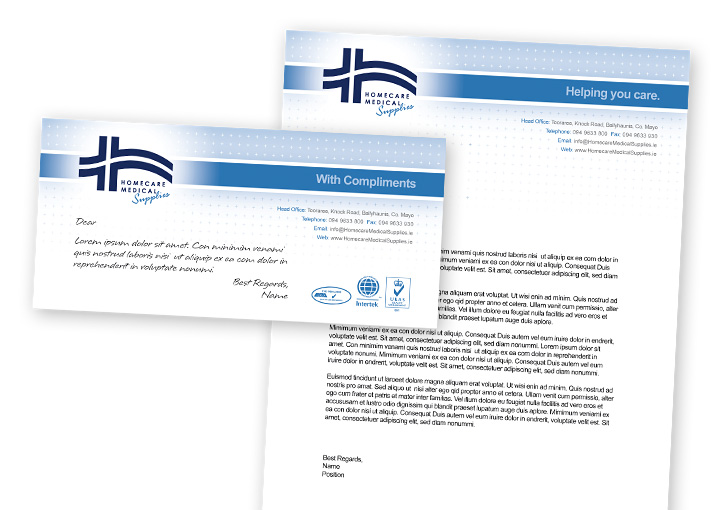 Homecare Medial Supplies compliments slip and letterhead design