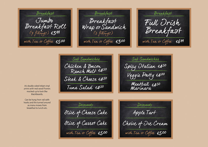 Junction Deli menu board design