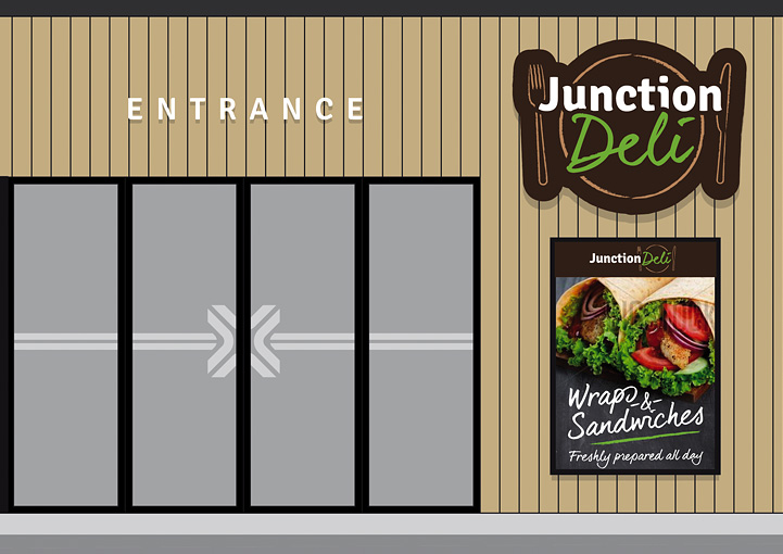 Junction Deli exterior signage and poster design