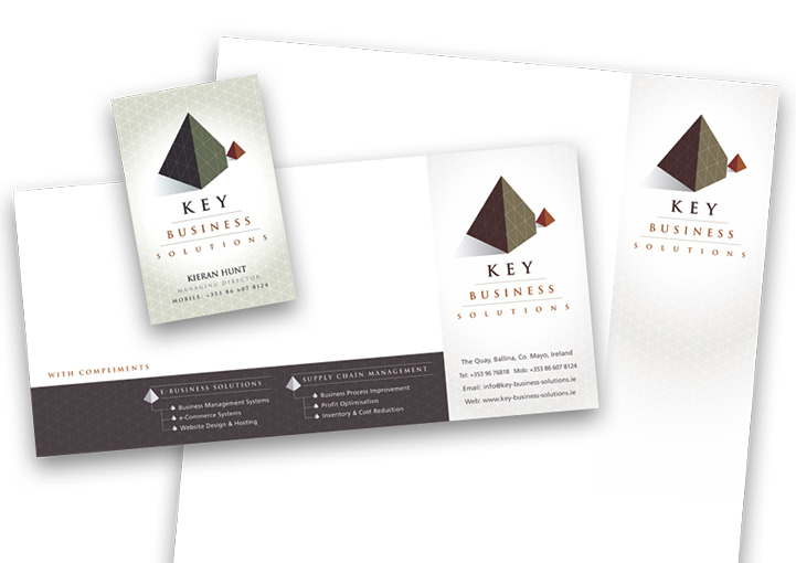 Key Business Solutions business card, compliments slip and letterhead design