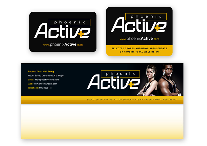 Phoenix Active business card and compliments slip design