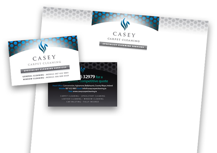 Casey Carpet Cleaning business card and letterhead design