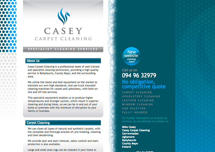 Casey Carpet Cleaning web page design
