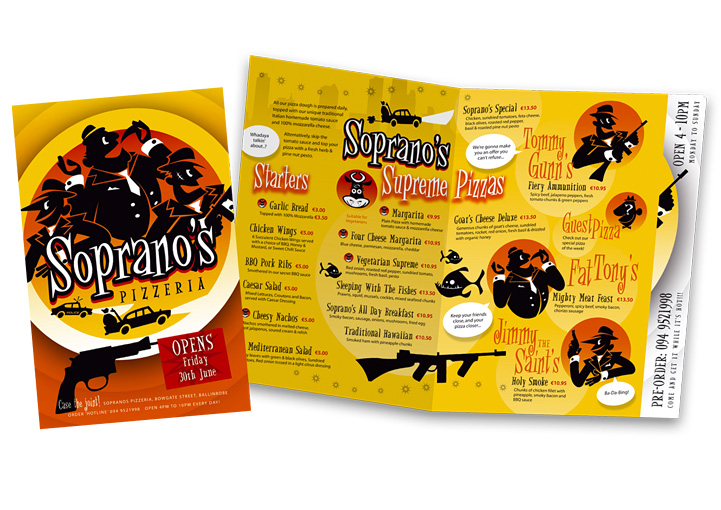 Soprano's Pizzeria menu flyer design