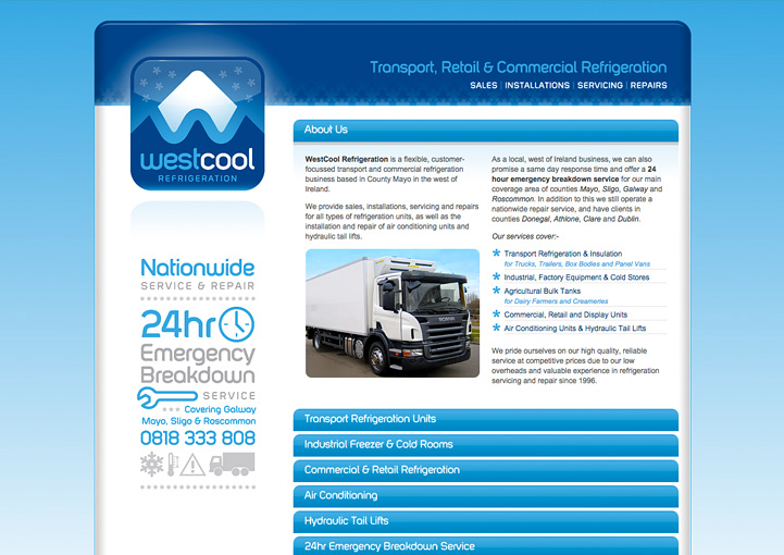 Westcool Refrigeration web design