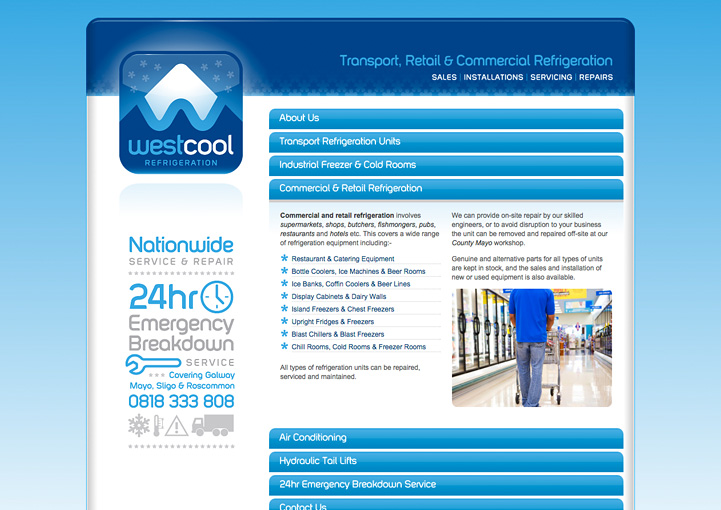 Westcool Refrigeration website design