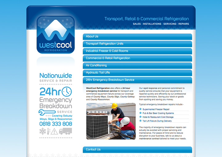 Westcool Refrigeration web site design